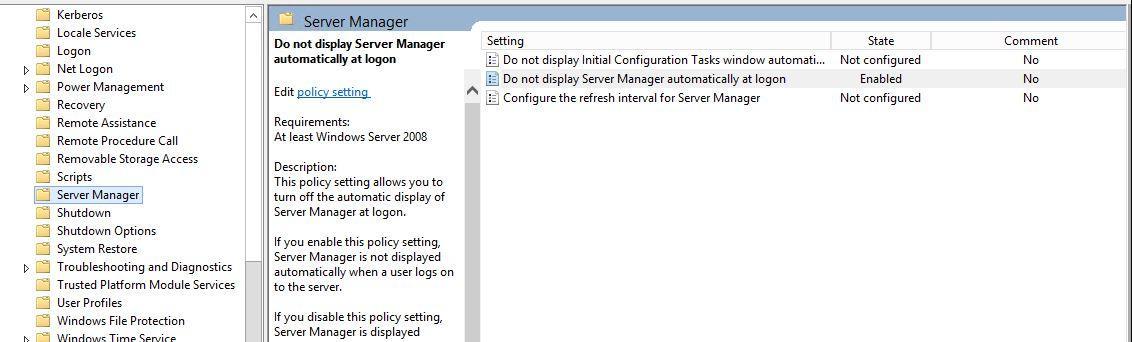 Server Manager über GPO deaktivieren - MVC